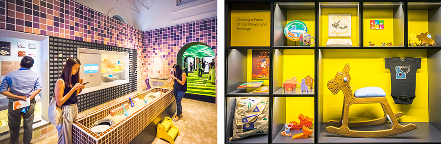 The mosaic playground-inspired gallery at 'The More We Get Together: Singapore's Playgrounds 1930 - 2030' exhibition showcases several HDB heritage playgrounds; (on the right): Assortment of merchandise inspired by HDB playgrounds