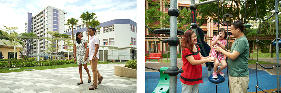Left: A couple taking a stroll around the rejuvenated Bedok Town Centre; Right: Family time at a playground in Woodlands
